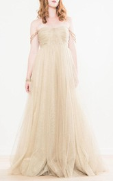 Shimmering Gold Tulle Wedding Nadia Dress