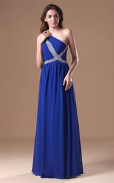 Glossy Sleeveless a Line Maxi One Shoulder Special Occasion Dresses