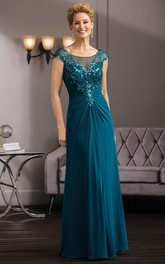 Cap-Sleeved Long Gown With Sequins And Illusion Back