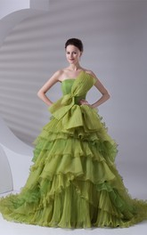 Strapless A-Line Tiered Bow and Ball-Gown With Ruffles