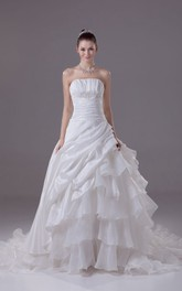 Sweetheart Ruched A-Line Dress With Appliques and Pick-Up Design