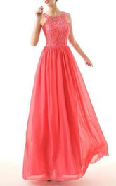 Dramatic A-Line Round Neck Sleeveless Chiffon Prom Dress