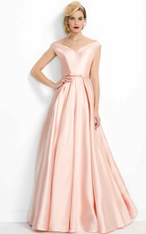 A-Line Pleated V-Neck Floor-Length Satin Prom Dress