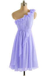 One-shoulder Ruffled Chiffon A-line Gown With Drapping