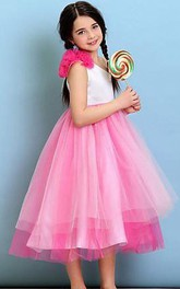 Flower Girl Empire One Shoulder Tulle Ball Gown With Flowers