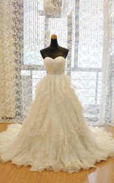 A-Line Ball Gown Mini Sweetheart Sleeveless Bell Beading Court Train Corset Back Lace Organza Dress