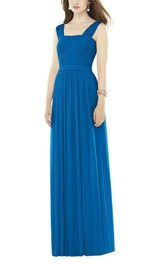 Square Neck Ruched Chiffon Long Bridesmaid Dress
