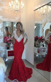 Modern V-neck Lace Mermaid Prom Dress 2018 Half Sleeve Zipper