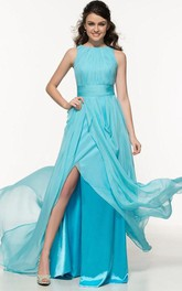A-Line Bateau Pleats Split-Front Prom Dress