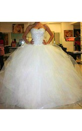 Sweetheart Tulle Beading Crystal Diamond Strapless A-Line Wedding Dresses