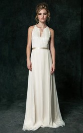 Ethereal Chiffon Halter Sleeveless Long Wedding Dress with Sash