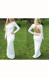 Sheath floor-length Long-Sleeve Backless Lace Dress