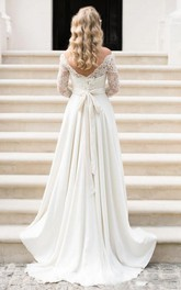 A Line Country Illusion Lace Bateau Neck V Back Zipper up Wedding Dress with Sleeves