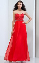 A-Line Sweetheart Beaded Zipper-Up Prom Dress