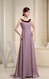 Sleeveless A-Line Chiffon Brush Train and Gown With Ruching