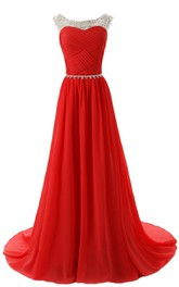 Scoop Crystal-beaded A-line Gown With Chaple Train