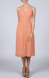 Halter V Neck A-line Chiffon Tea Length Dress With Pleats