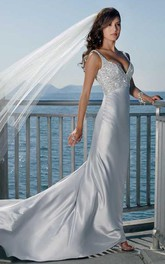 sheath Spaghetti Straps Sleeveless Court Train Elastic Woven Satin Wedding Dress