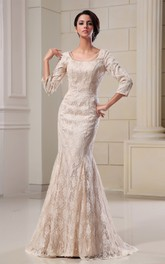 Square-Neck Long-Sleeve Mermaid Dress With Lace Appliques