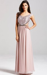 Chiffon A-Line Gown With Embroidery And Illusion Waist