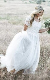A-line Lace Appliques Bohemian Short Sleeve Tulle Wedding Dress With Ruching