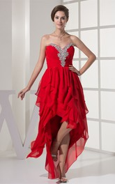 Sweetheart High-Low Jeweled Rhinestone and Dress With Ruffles