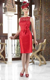 Knee-Length Pencil Sleeveless Appliqued Jewel Neck Satin Mother Of The Bride Dress