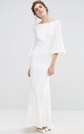 Ankle-Length Sheath Puff Sleeve Bateau Neck Chiffon Bridesmaid Dress