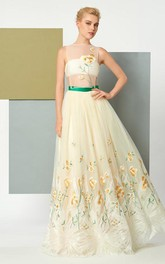 A Line Scoop Neck Sleeveless Embroidery Floor Length Evening Dress