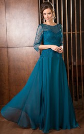 A-Line 3-4-Sleeve Maxi Scoop-Neck Lace Chiffon Mother Of The Bride Dress