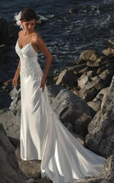 sheath Spaghetti Straps Satin Wedding Dress