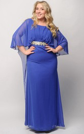 Sheath Floor-Length Jewel Long Sleeve Empire Chiffon Pleats Beading Zipper Dress