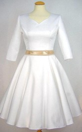 Satin Half Sleeve V-Neck A-Line Dress With Bow Sash
