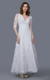 Vintage Long Lace Sleeve V-neck A-line Lace Gown With Pleats