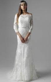 Floor-Length Jeweled Off-The-Shoulder 3-4 Sleeve Lace Wedding Dress