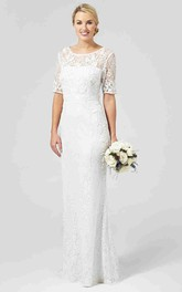 Sheath Half-Sleeve Scoop-Neck Lace Wedding Dress With Keyhole