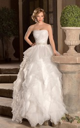 A-Line Long Strapless Sleeveless Zipper Organza Dress With Ruching And Beading
