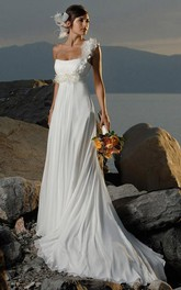 sheath One-shoulder Chiffon Sleeveless Sweep Train Wedding Dresses