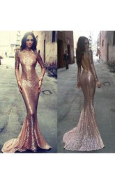 Mermaid Trumpet Sequins High Neck Long Sleeve Open Back Backless Dress