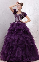 Sweetheart Organza Quinceanera Dress With Ruffles and Beading
