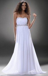 Simple Empire Strapless Beading Prom Evening Dress