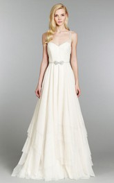 Fabulous Spaghetti Strap Tiered Floor Length Dress With Crystal Bow Belt