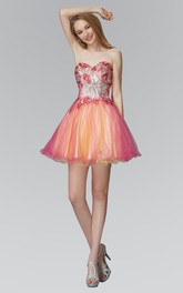 Muti-Color A-Line Mini Sweetheart Sleeveless Backless Dress With Sequins And Beading