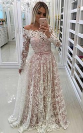 A-Line Lace Off-the-shoulder Long Sleeve Button Dress