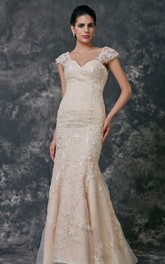 Lace Sweetheart Mermaid Gown With Removable Cap Sleeves
