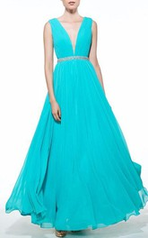 A-Line V-Neck Beading Ruched Floor-Length Prom Dress