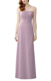 Strapless Lace Sheath Ruched Long Bridesmaid Dress