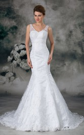 Dramatic Satin Appliqued Trumpet V Neck Wedding Dresses