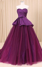 A-Line Floor-Length Sweetheart Sweep Train Zipper Corset Back Tulle Lace Satin Dress