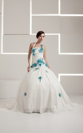 Haltered Appliqued A-Line Ruching and Gown With Flower